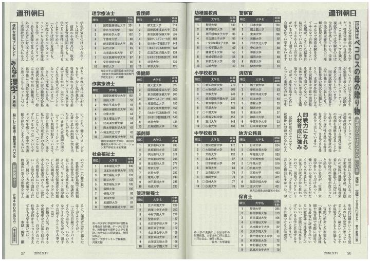 『週刊朝日(朝日新聞出版)』最新号に、本学の記事が掲載されました。